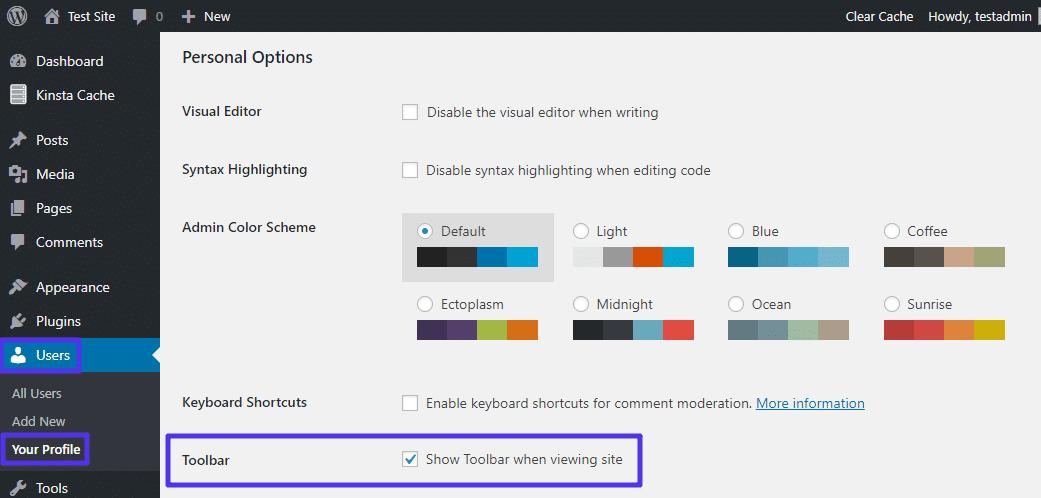 Como desativar a barra de ferramentas do WordPress