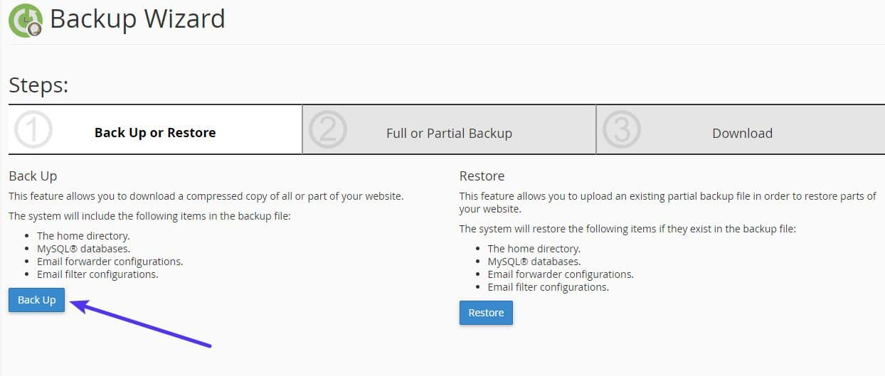 A interface do Assistente de Backup do cPanel Backup