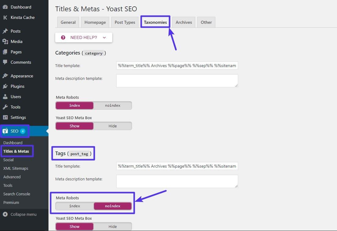Adicionar a tag noindex para etiquetar as páginas de arquivos