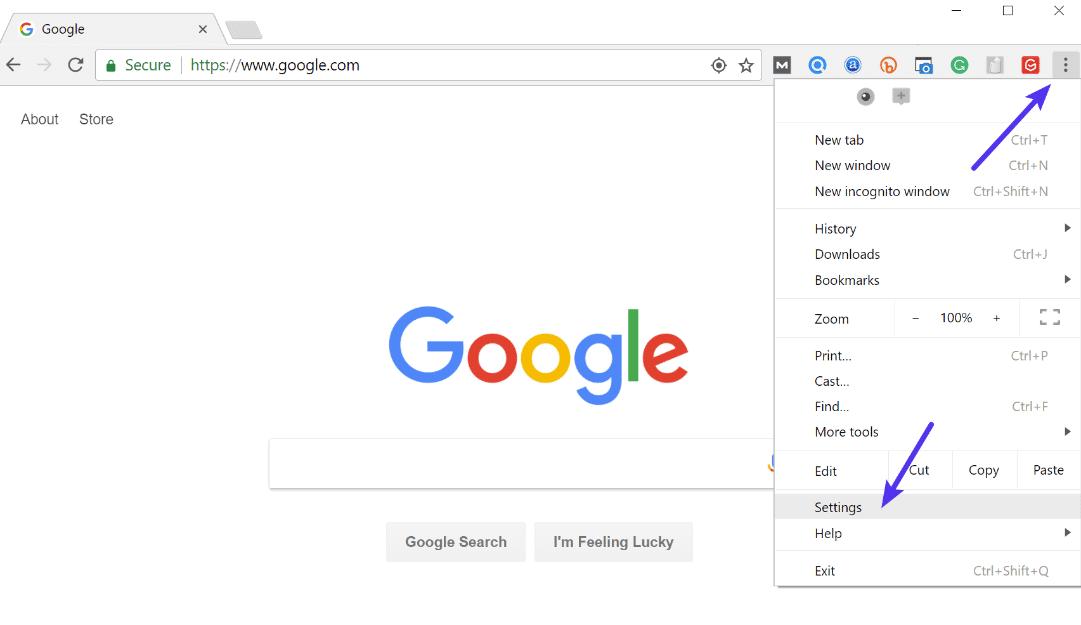 Configurações do Chrome