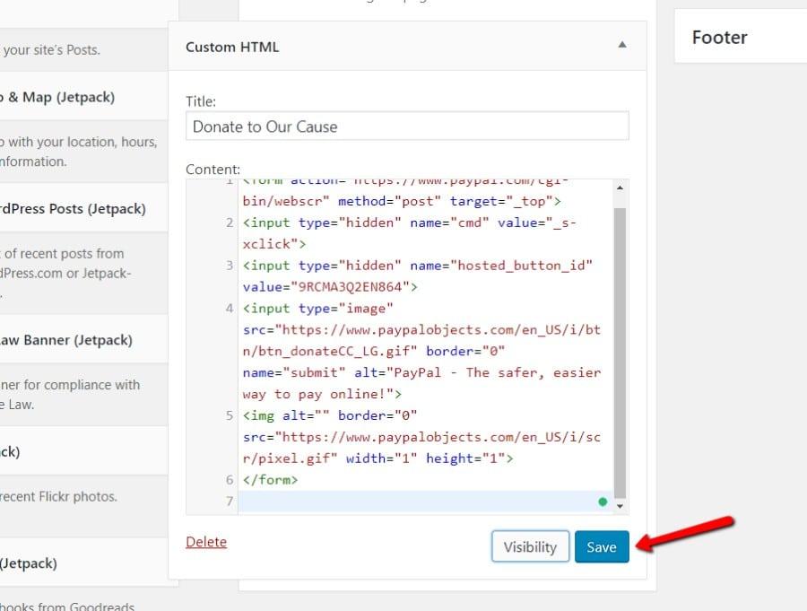 Colar o código de incorporação do PayPal no widget