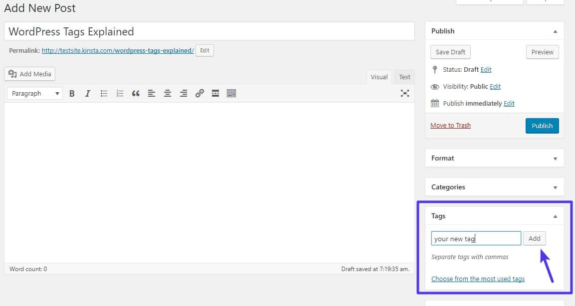 Como adicionar tags WordPress no editor