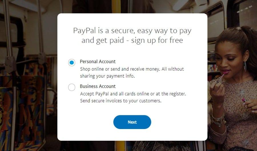 Escolha a conta do PayPal