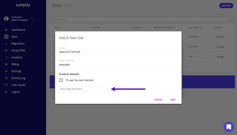 Crie um site na Kinsta