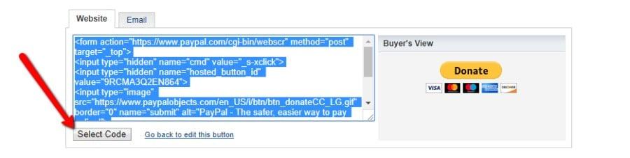 Copiar o código de incorporação do botão doar do PayPal
