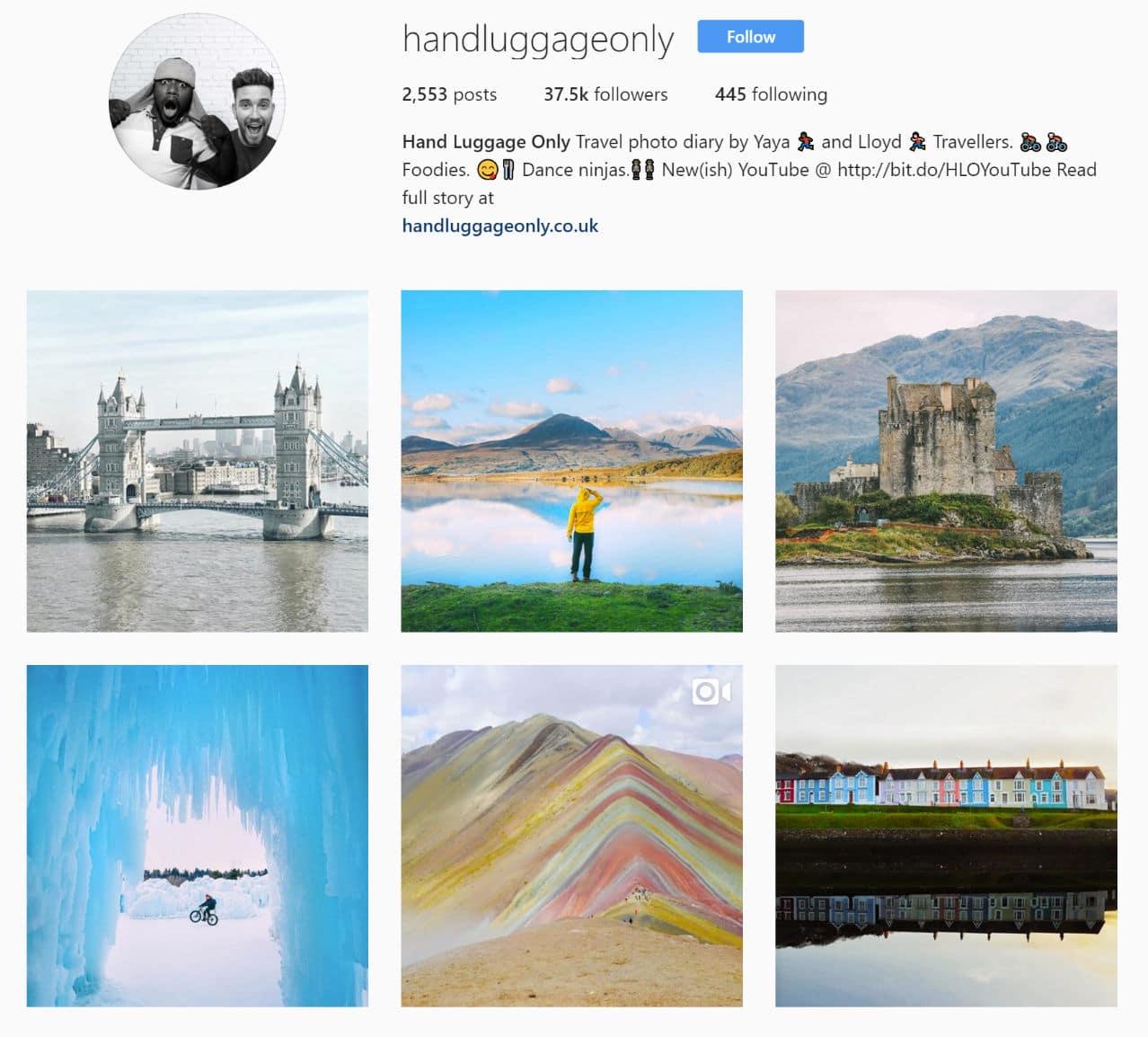 Fotografias de viagem na Instagram