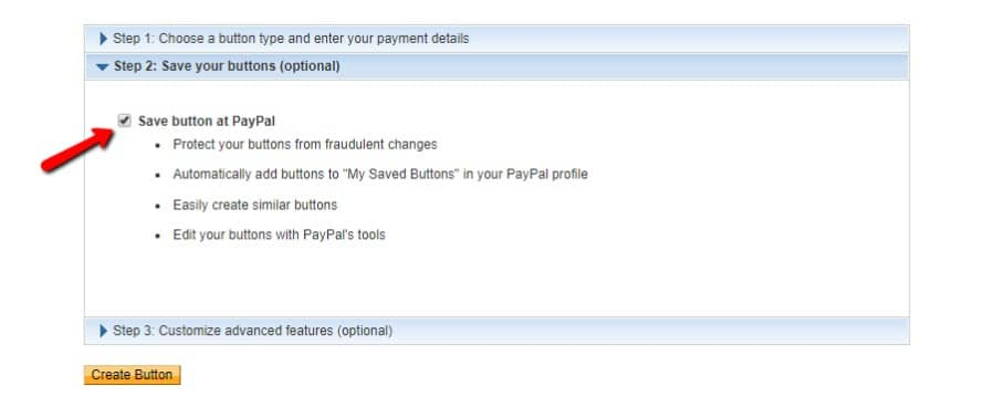 Botão Guardar no PayPal
