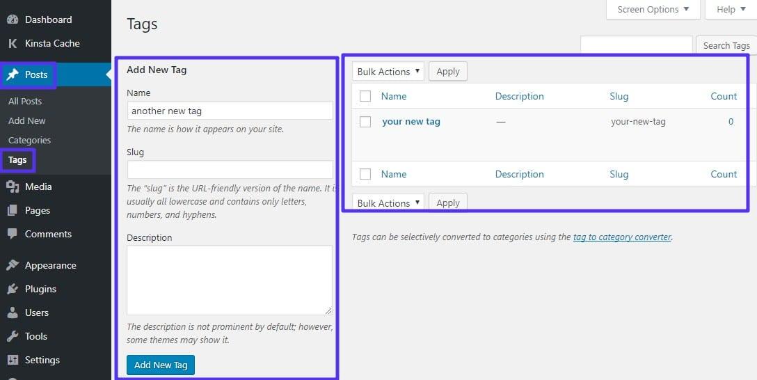 Interface de tag autônoma WordPress