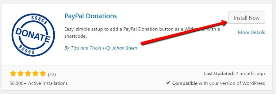 Instalar o plug-in PayPal Donations