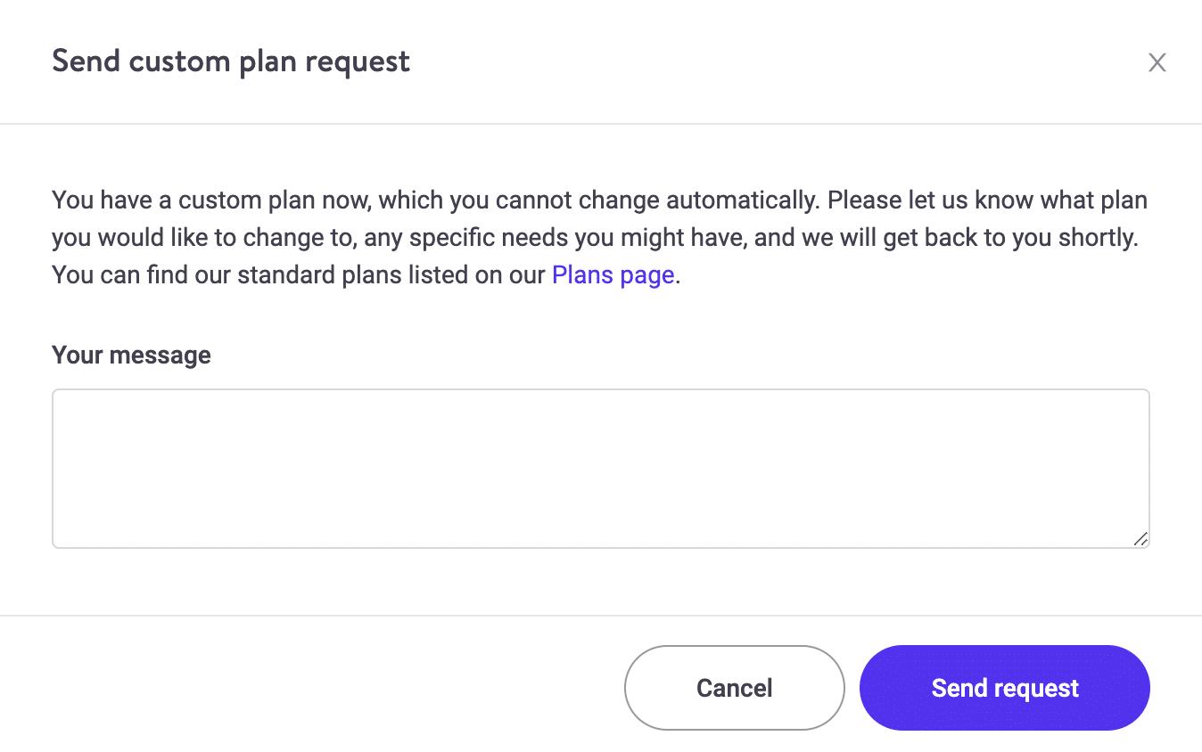 Solicitação de plano personalizado