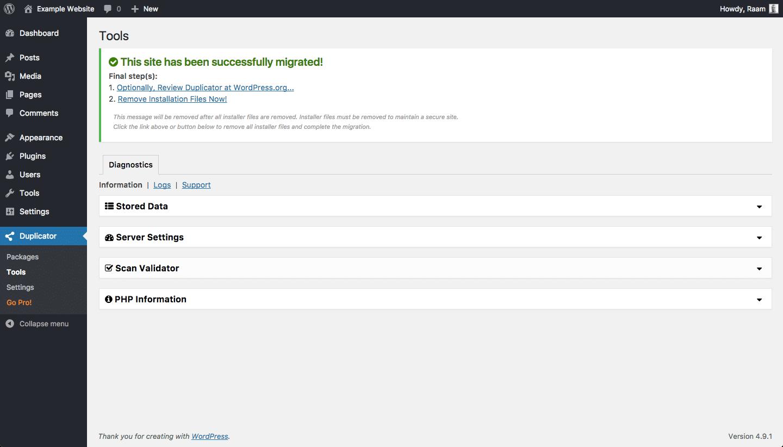 Migração bem-sucedida com o Duplicator no WordPress