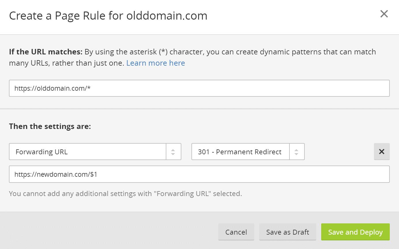 Cloudflare 301 redirecionar regra de página