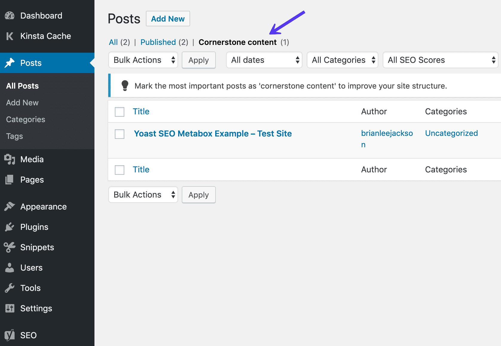 Conteúdo Cornerstone na lista de postagens