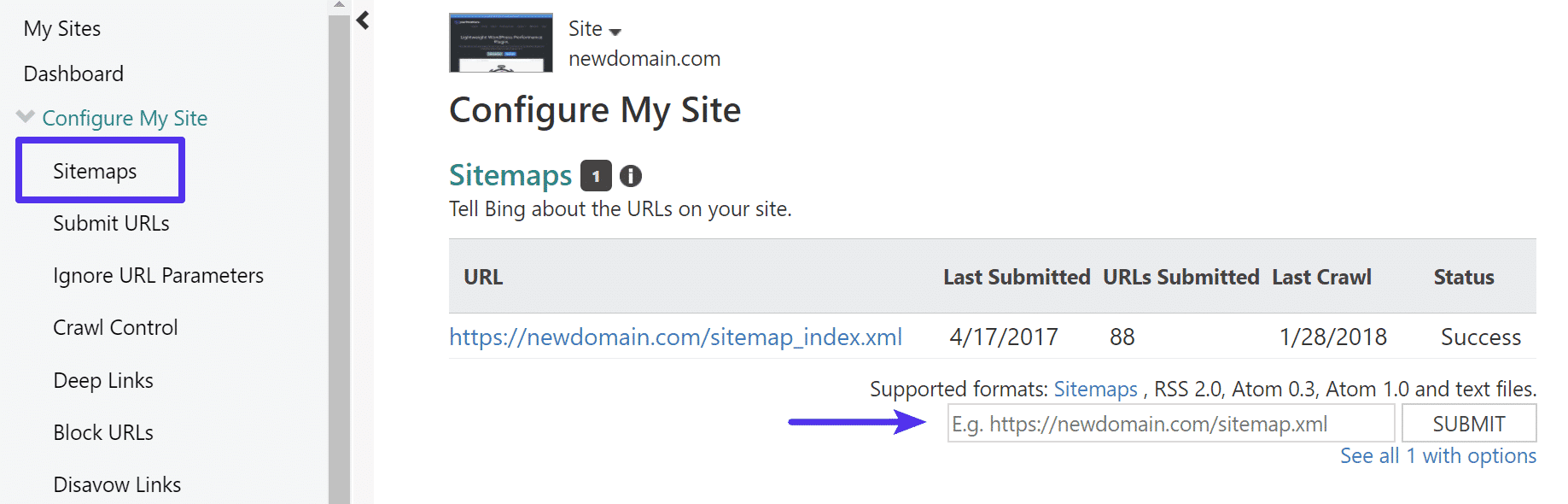 Enviar ficheiro de mapa do site em Bing Webmaster Tools