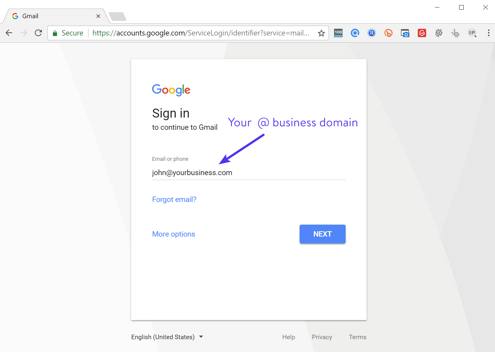 Gmail domínio personalizado