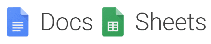 G Suite Google Docs e Google Sheets