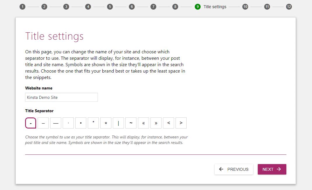 Escolha as configurações de título que deseja