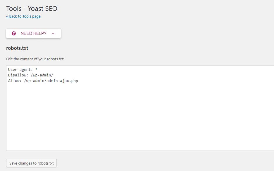 Yoast SEO permite que você edite seu arquivo robots.txt em seu painel
