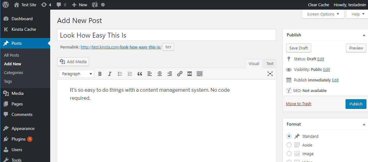 A interface do editor WordPress