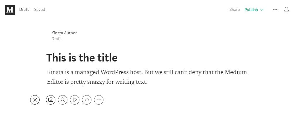 A interface do Medium Editor