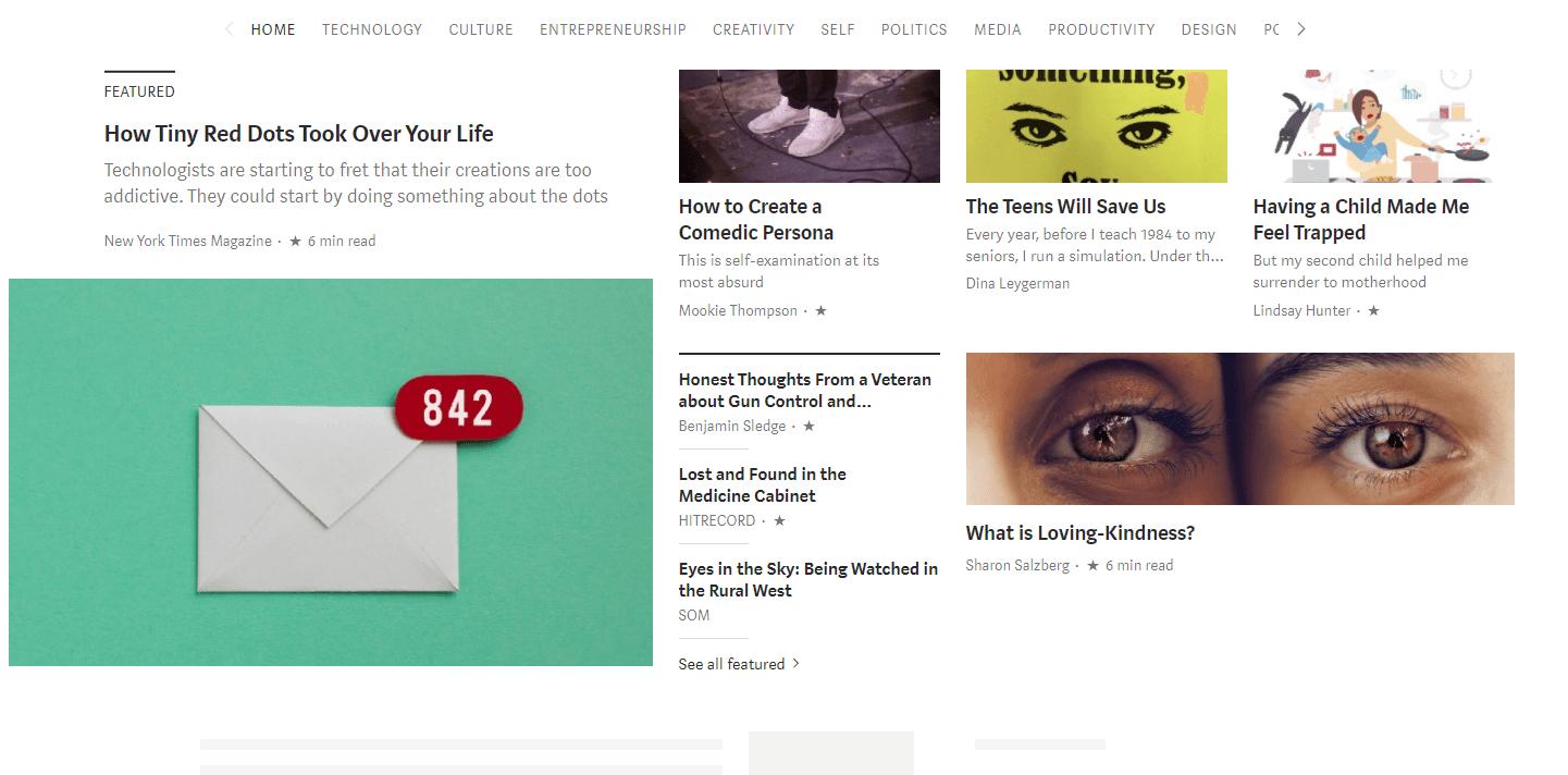 A página inicial da Medium