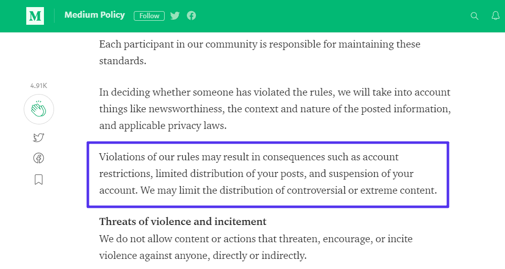 Um exemplo das regras de conteúdo da Medium