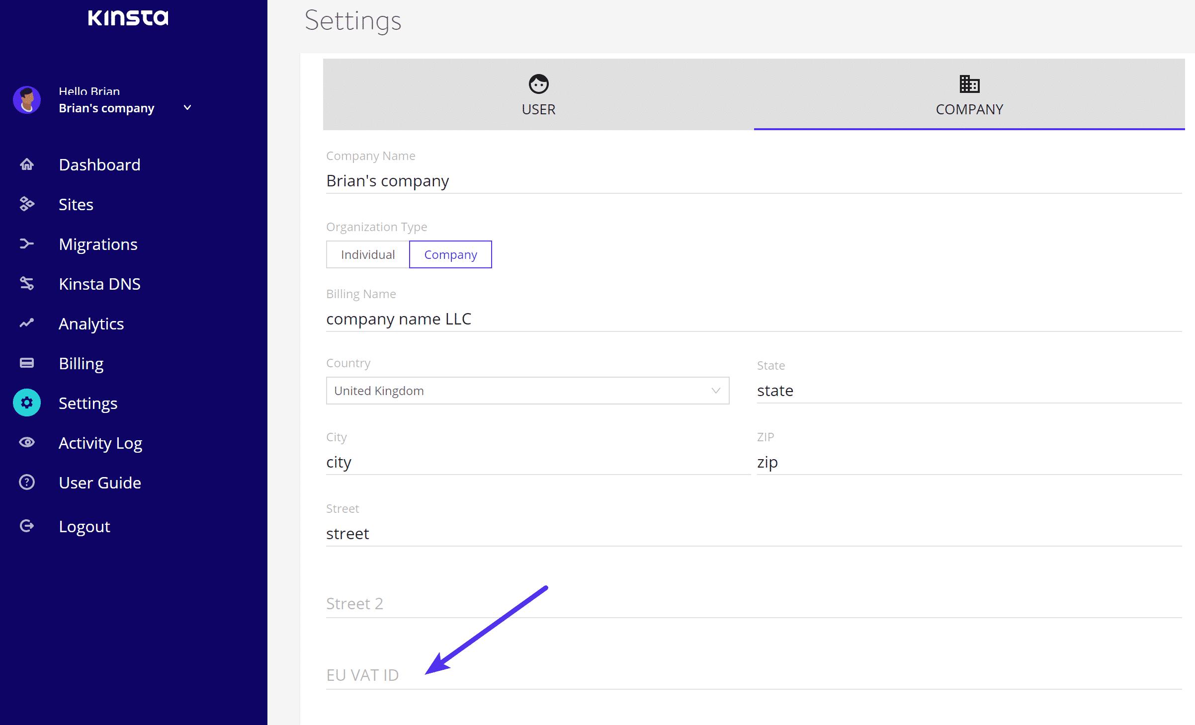 VAT ID da UE em MyKinsta