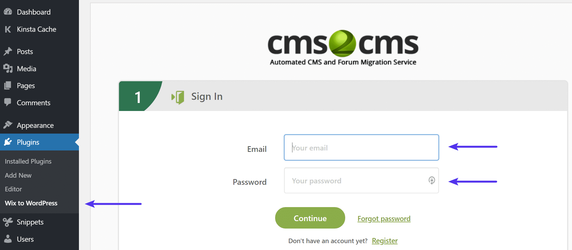 CMS2CMS inicie sessão