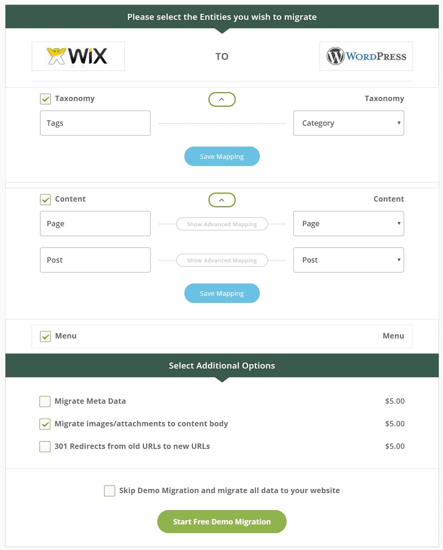Entidades de migração Wix para WordPress