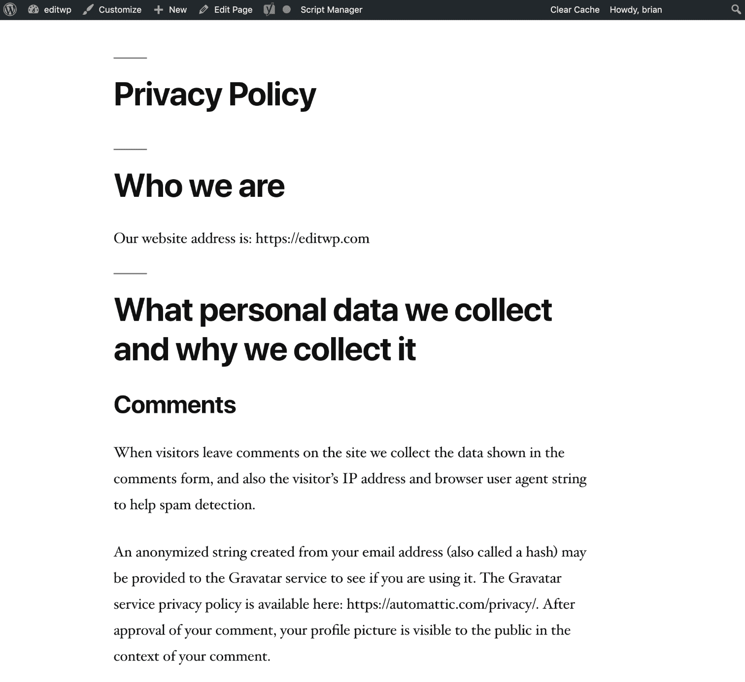 Exemplo de página da Política de Privacidade no WordPress