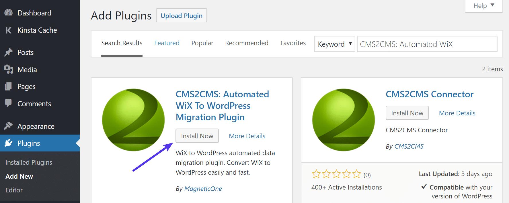 Instalar o CMS2CMS Wix automatizado para WordPress