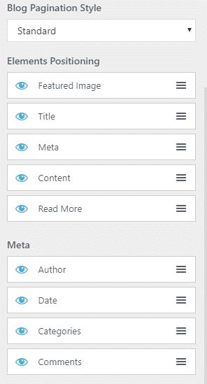 Configurações de detalhes do blog no Customizer