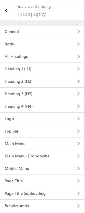 Configurações de tipografia