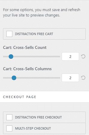 Configurações detalhadas de carrinho/conclusão de compras