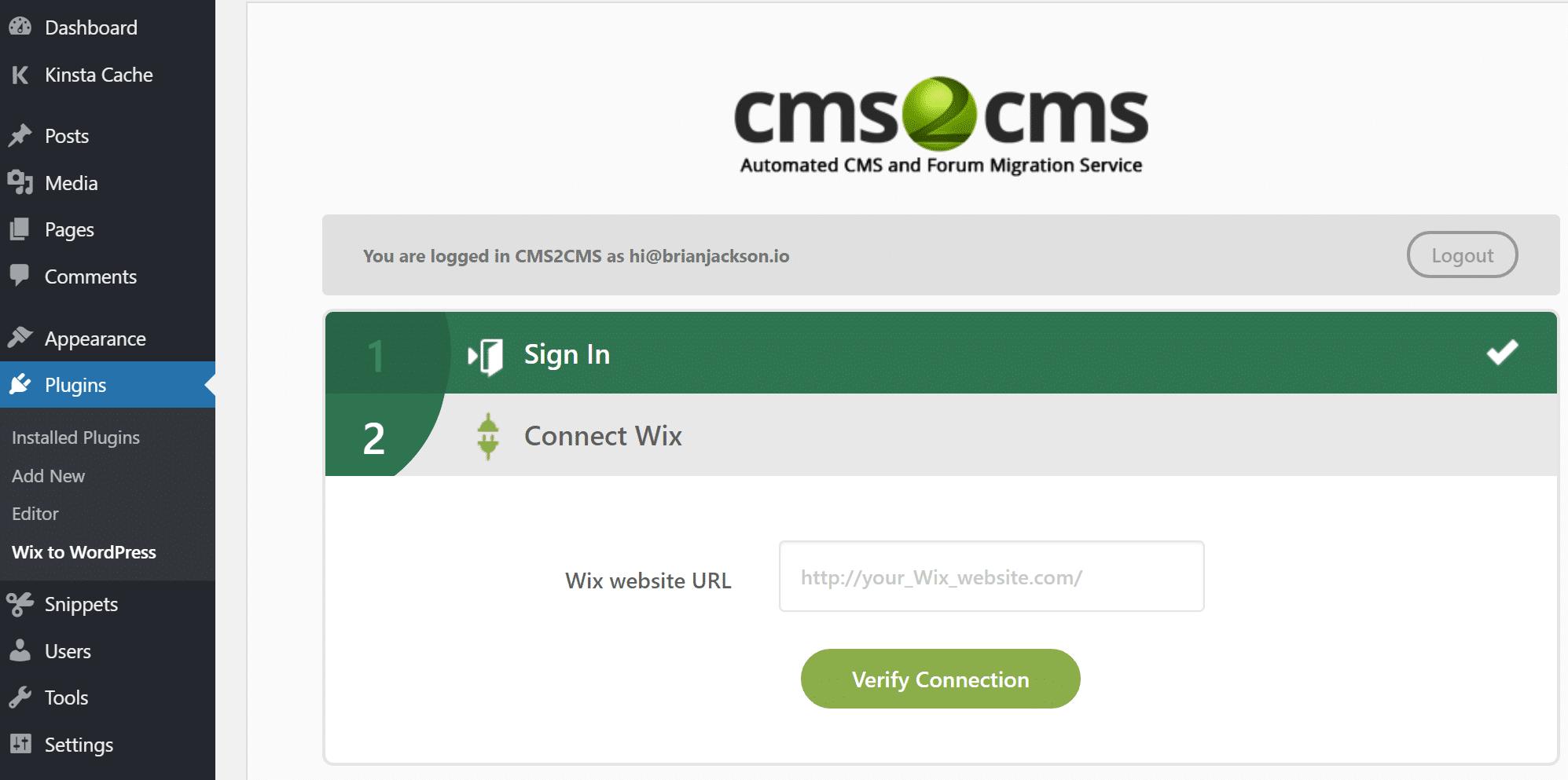 URL do site Wix