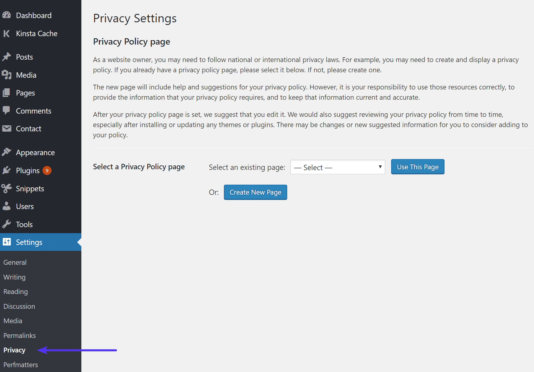 Página de privacidade do WordPress