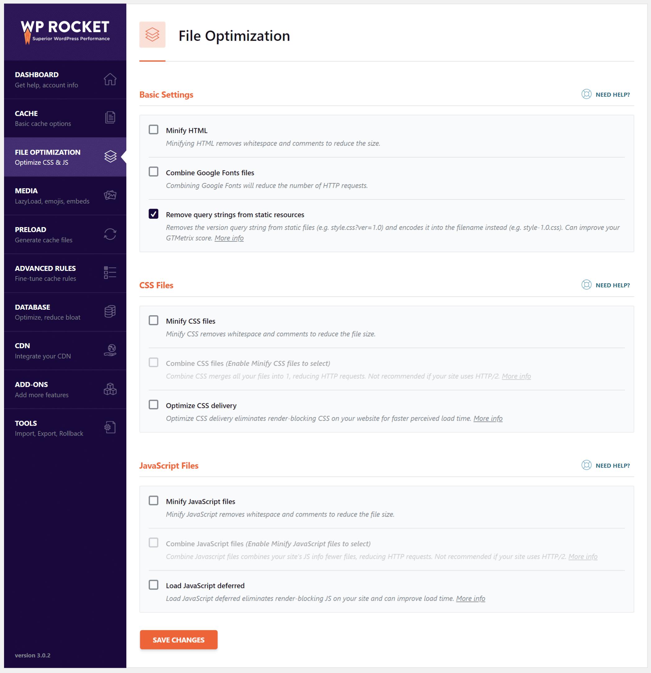 Otimização de arquivos no WP Rocket