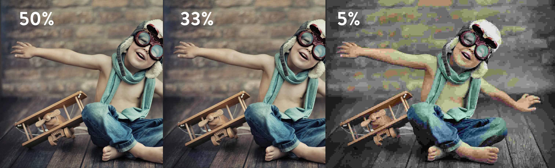 Comparação de compressão com perda