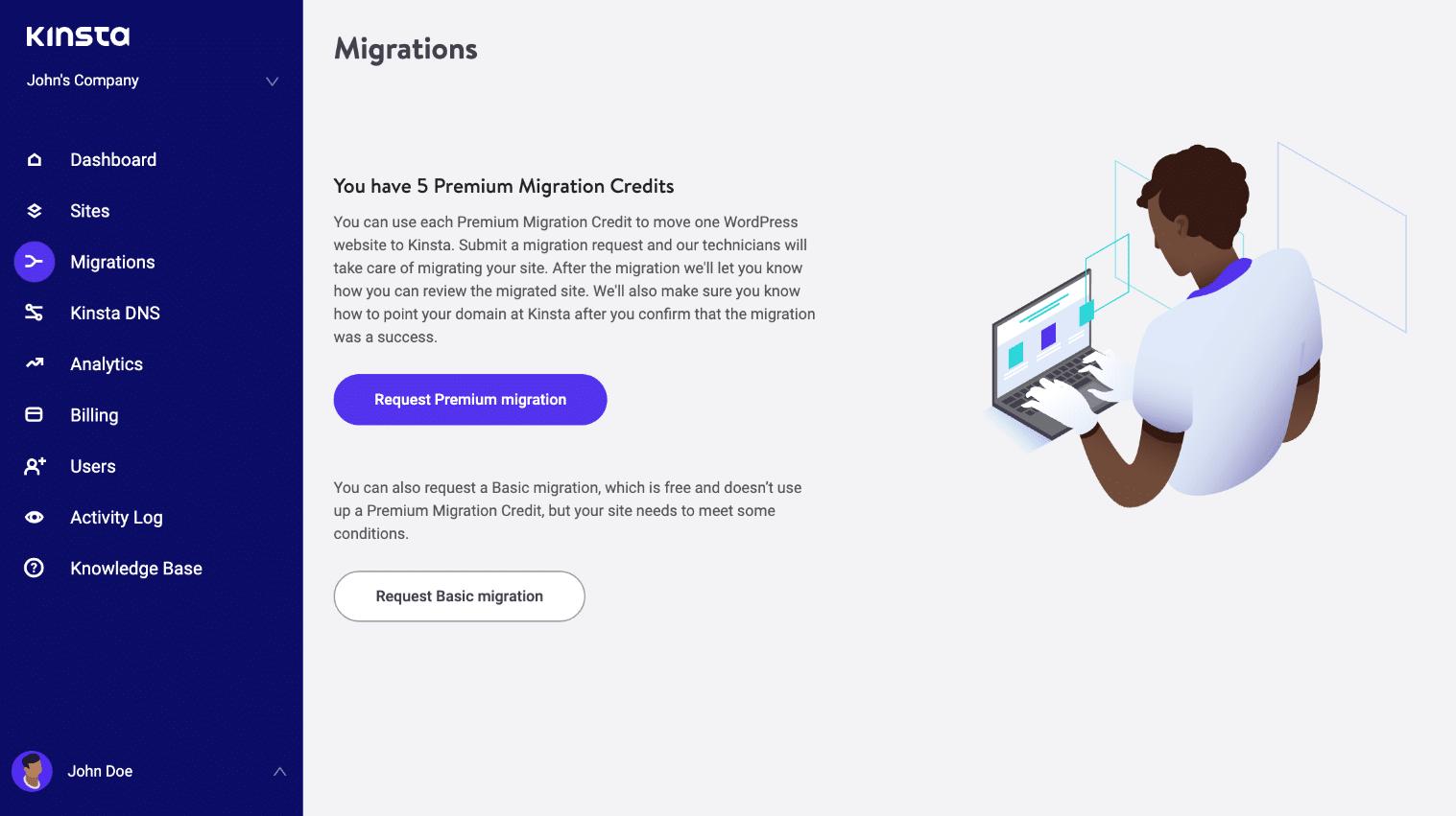 Submeter a migração WordPress