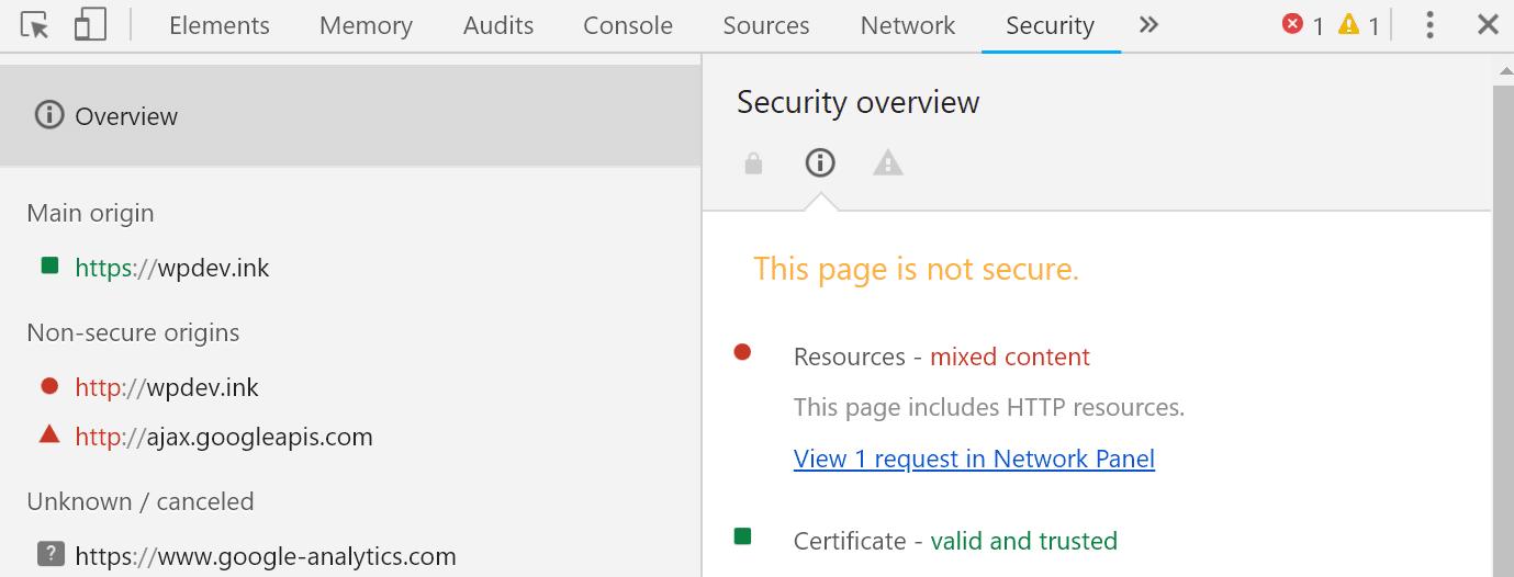 Aba segurança do Chrome DevTools