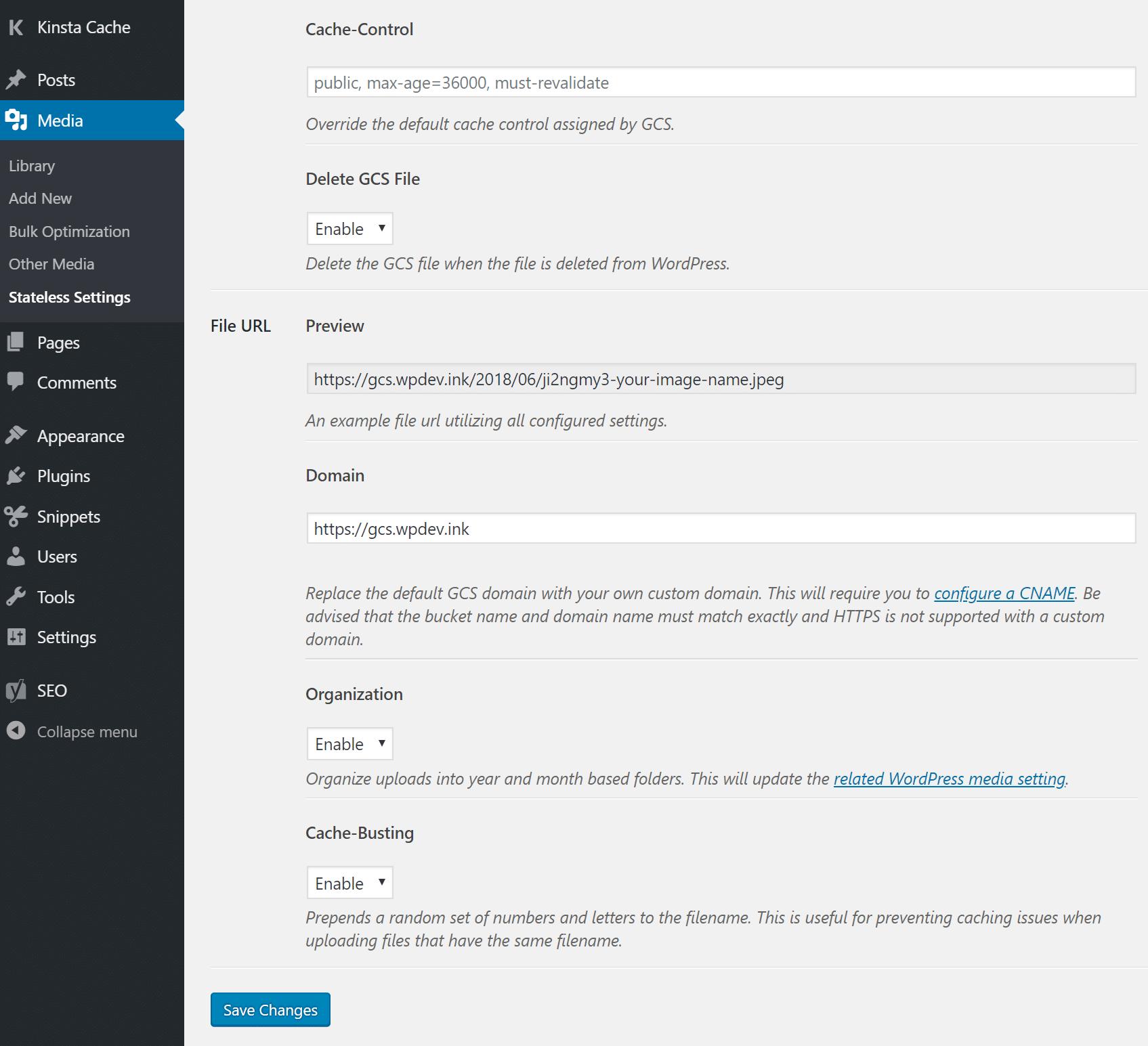 Configurações adicionais do WP-Stateless