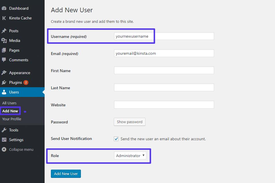Crie um novo usuário WordPress