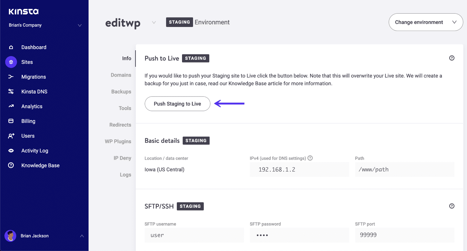 Empurre o ambiente de preparação do WordPress para viver