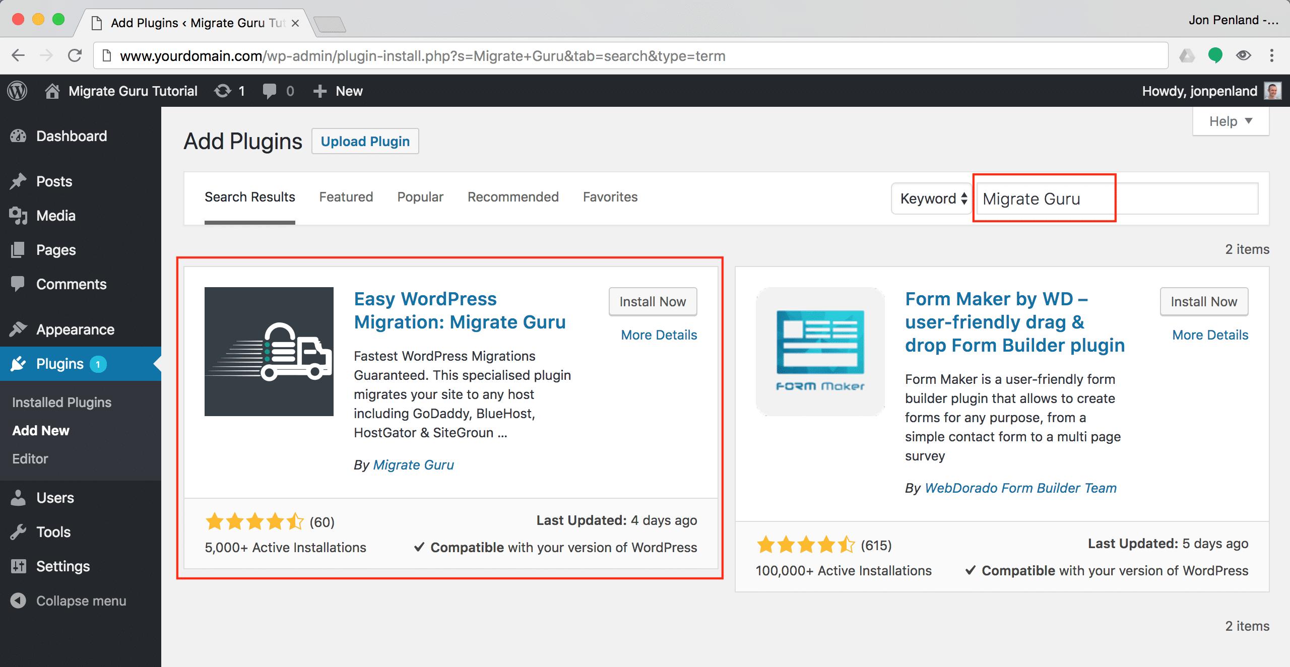 Quando localizar o Migrate Guru, instale o plugin.