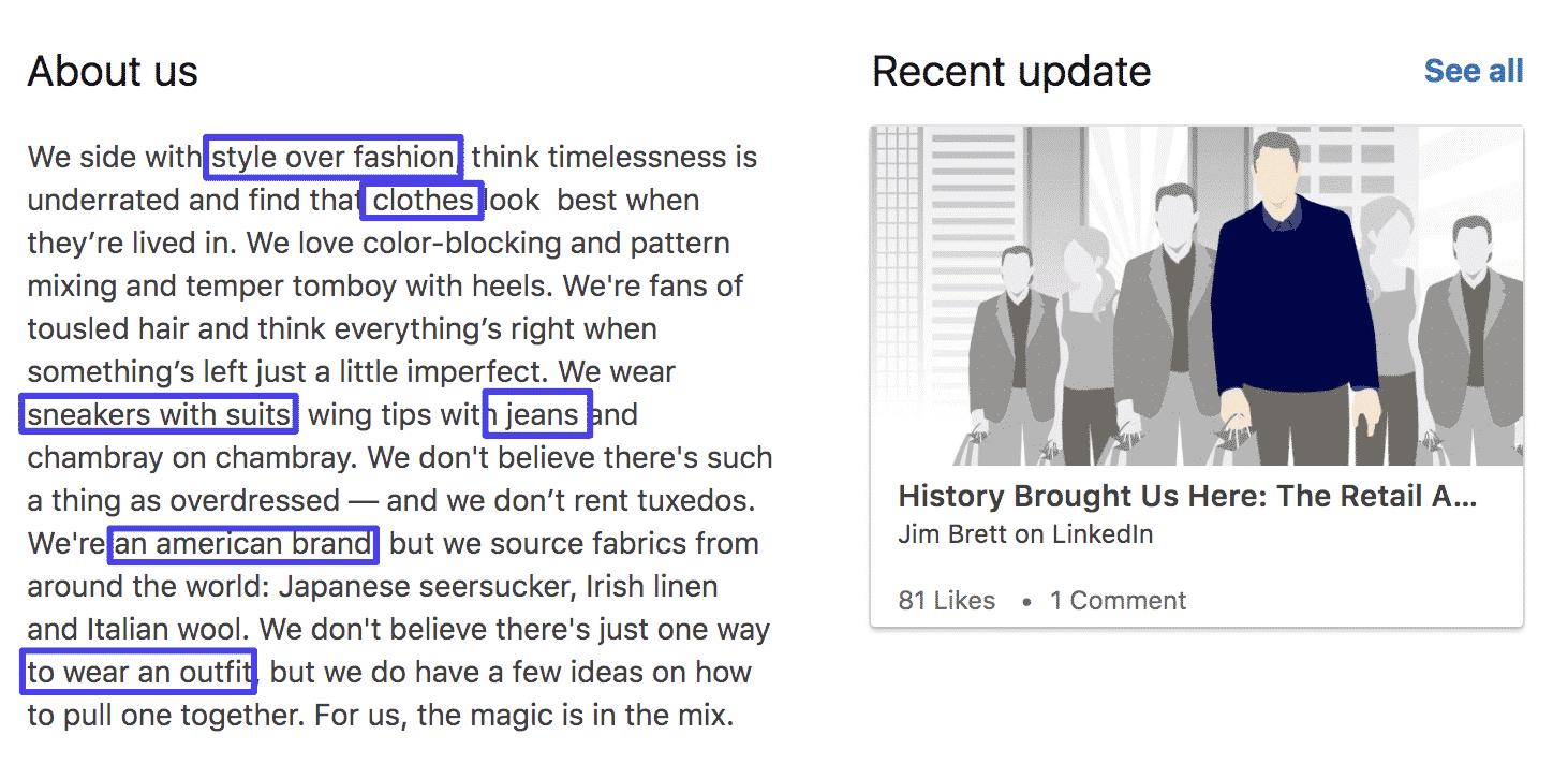 LinkedIn sobre nós cópia da seção