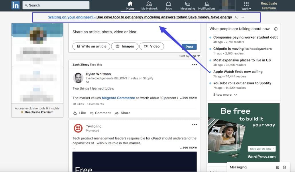 LinkedIn anúncios de texto