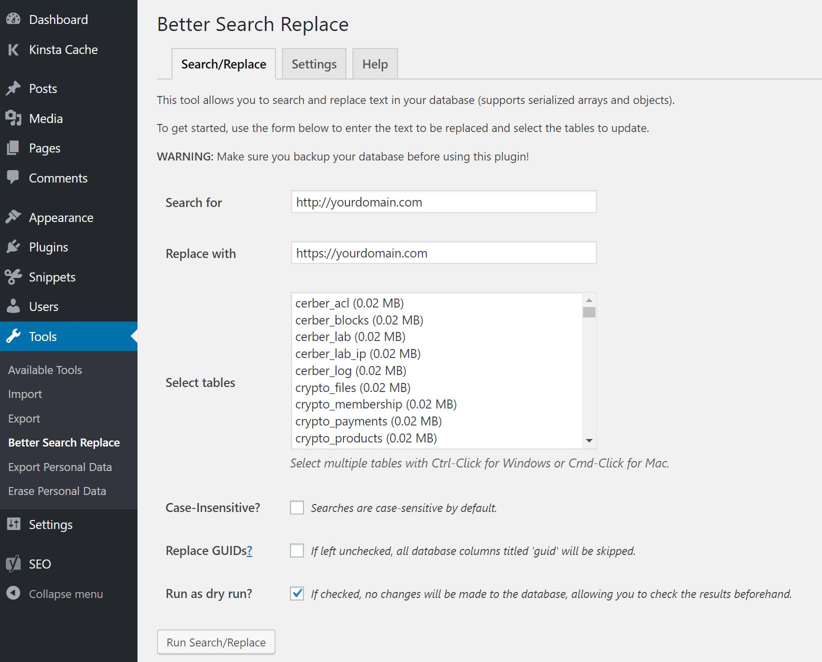 Opções do Better Search Replace
