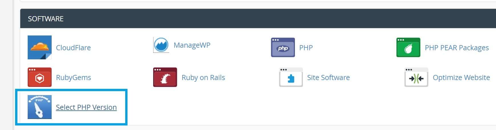 Selecione a versão PHP no cPanel