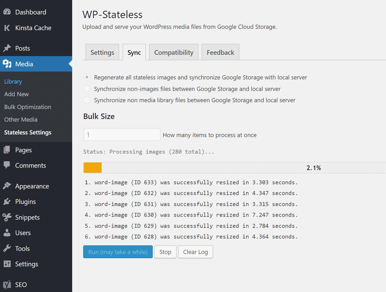 Sincronização WP-Stateless