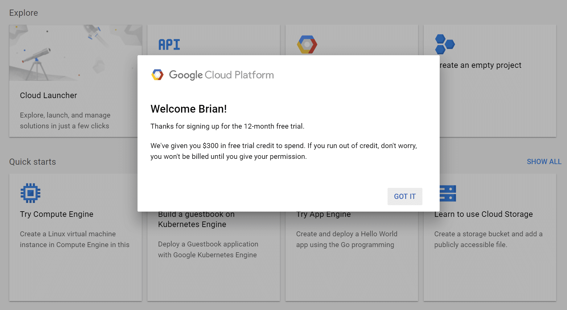 Teste gratuito do Google Cloud Platform